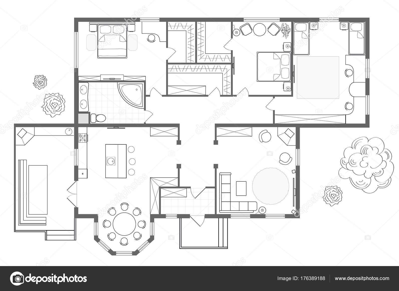 Mit Kuche Schlafzimmer Wohnzimmer Esszimmer Bad Und Ein Grillplatz Grundriss Innenarchitektur Ansicht Von Oben Blaupause Foto LongRiver