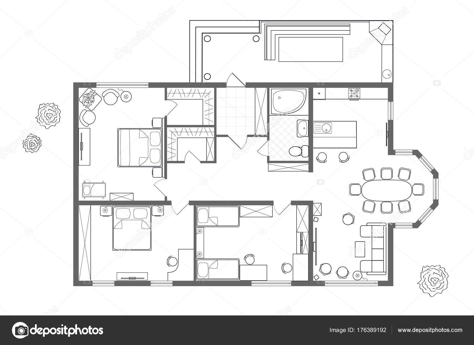 Architectonische plan van het huis. Professionele lay-out met ...