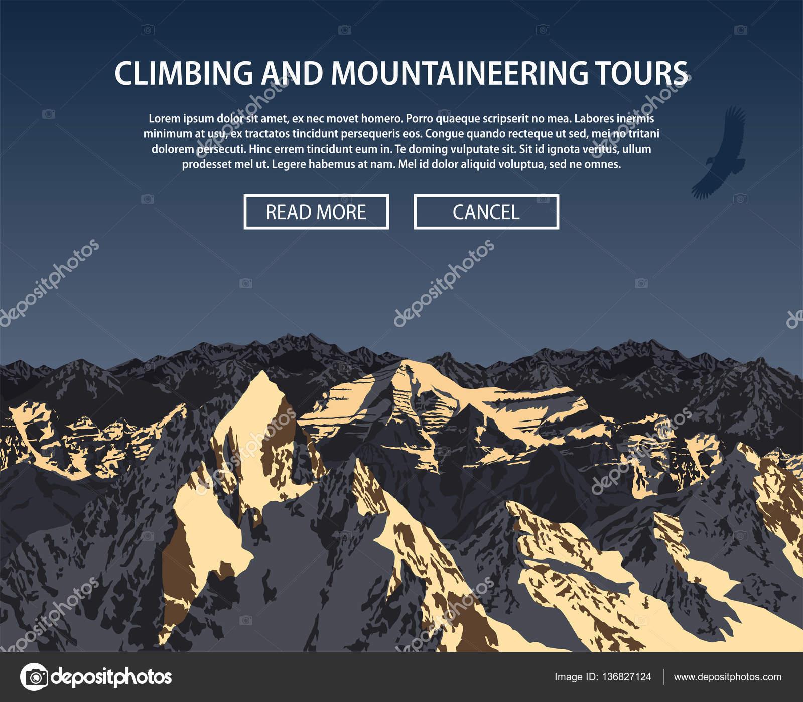 Vektör Tırmanışı Ve Dağcılık Arka Plan Tema Stok Vektör
