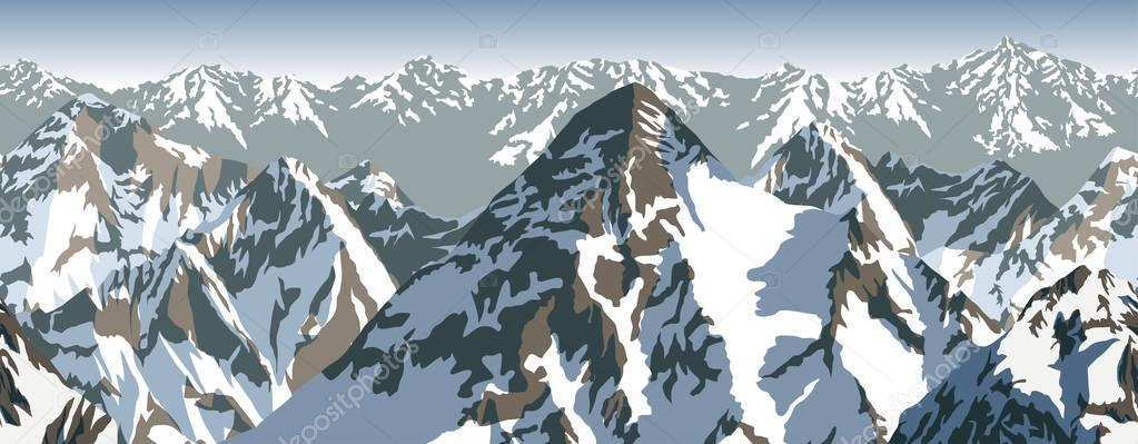 vector Himalaya alps mountains background texture seamless pattern