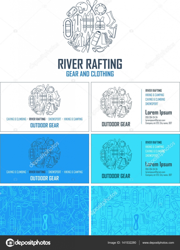 Vector Rafting Gear Visiting Card Business Set With Abstract Seamless Background Pattern Corporate