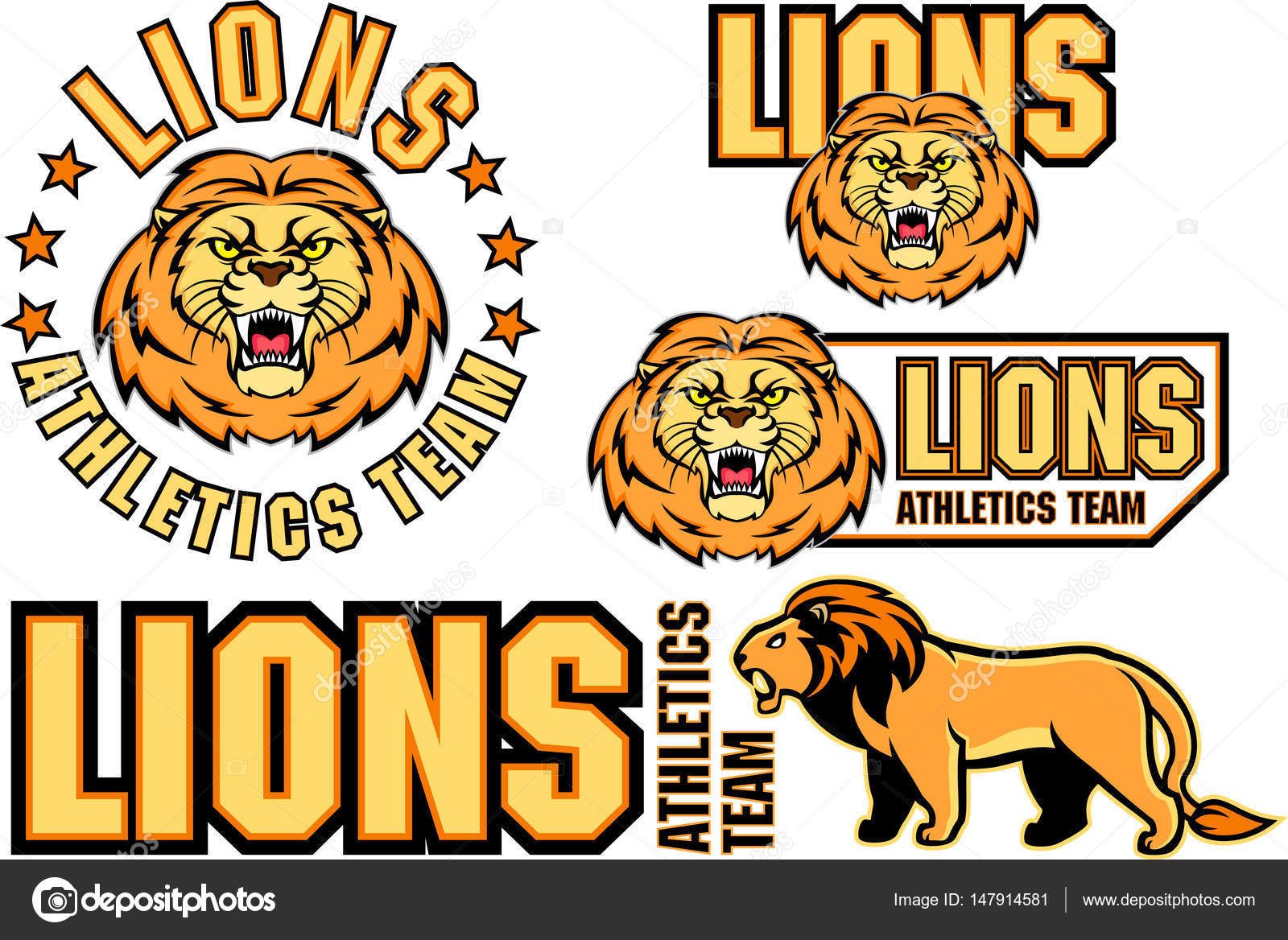 vector angry lion face sport emblem stock vector kozoriz 147914581