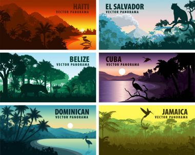 vector set of panorams countries of caribbean and Central America
