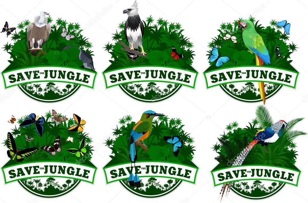 save jungle emblems with animals set
