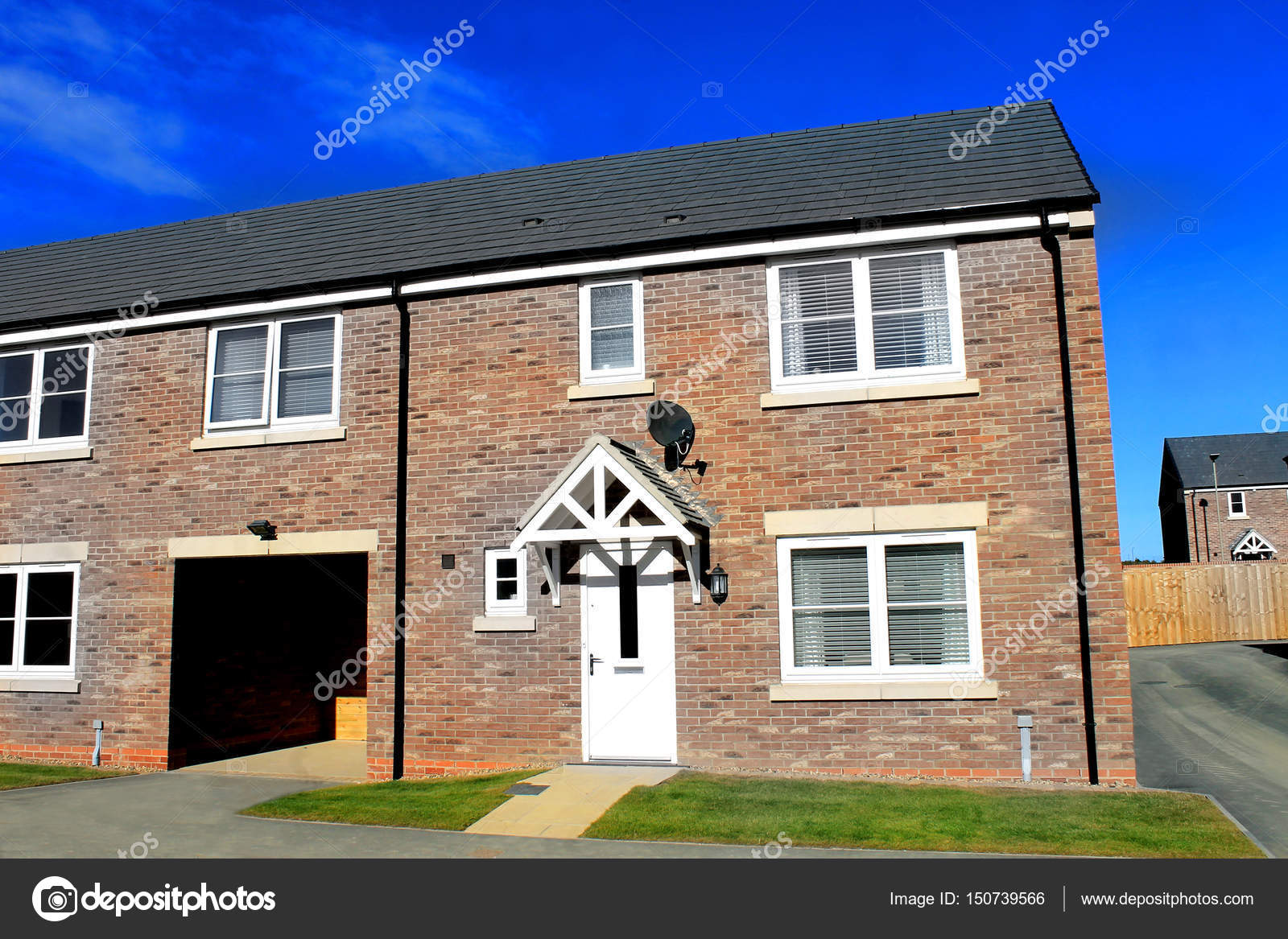 Modern housing estate in england stock photo