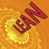 Fényképek A felszerelés és a piros címet Lean ipari háttér