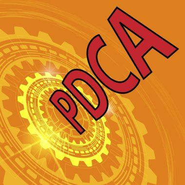 Orange industrial background with gear and red title PDCA