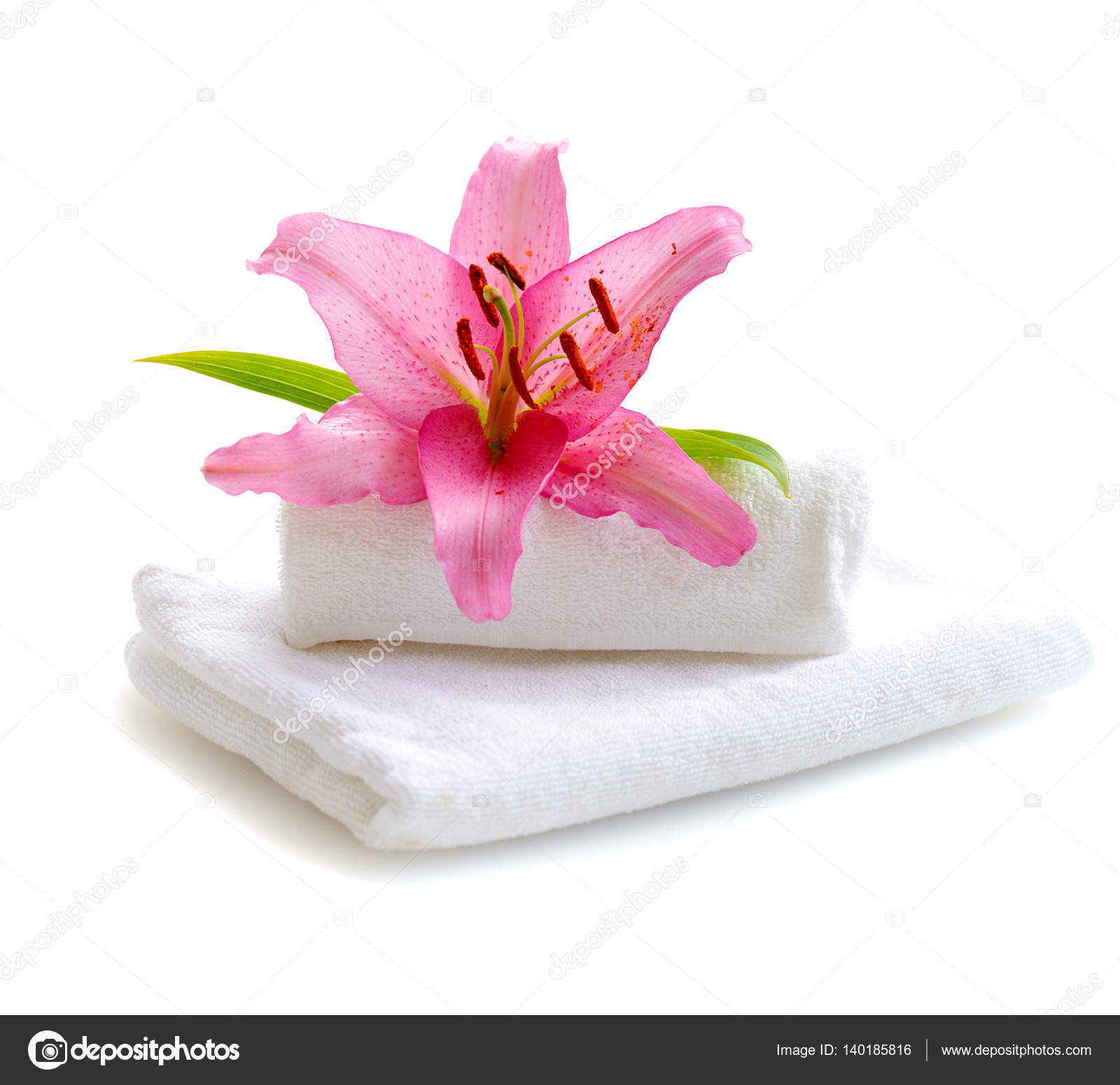 White Towels And Pink Lily Flower Stock Photo Natlit 140185816