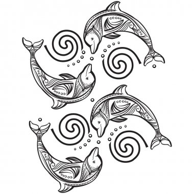 Decorated dolphin in wave