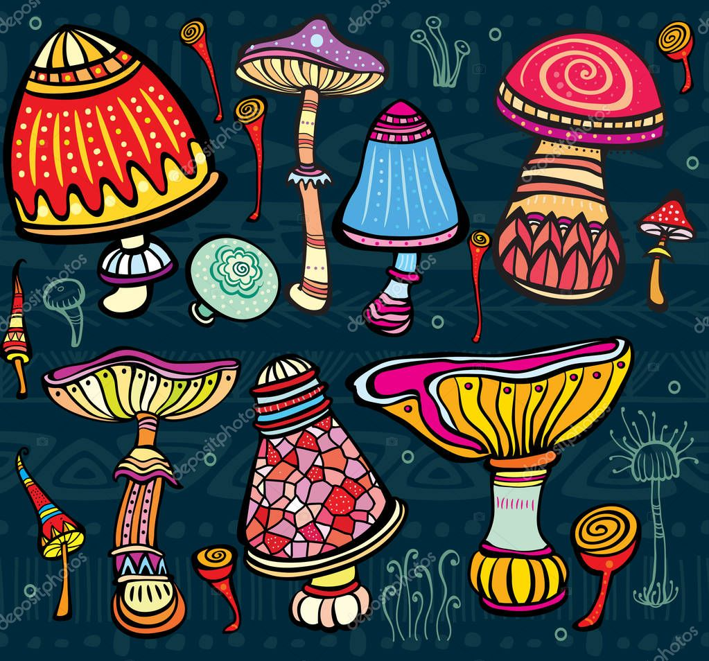 Set of stylized colored mushrooms