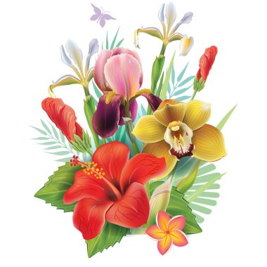 Vector bouquet with flowers