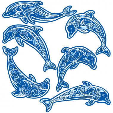 Set of decorated dolphins