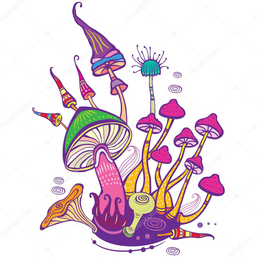 Group of decorative mushrooms