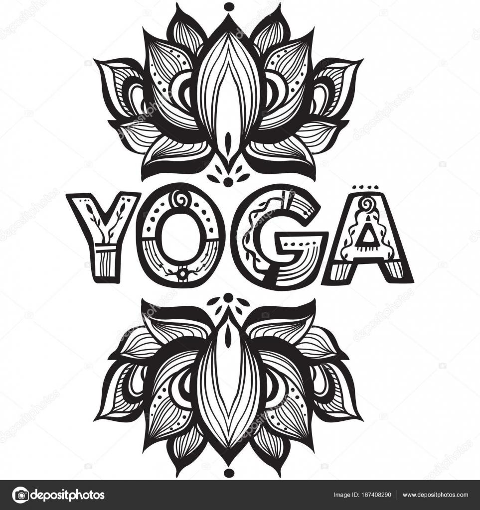 Word yoga with lotus flower silhouette stock vector wikki33 word yoga with lotus flower silhouette stock vector mightylinksfo