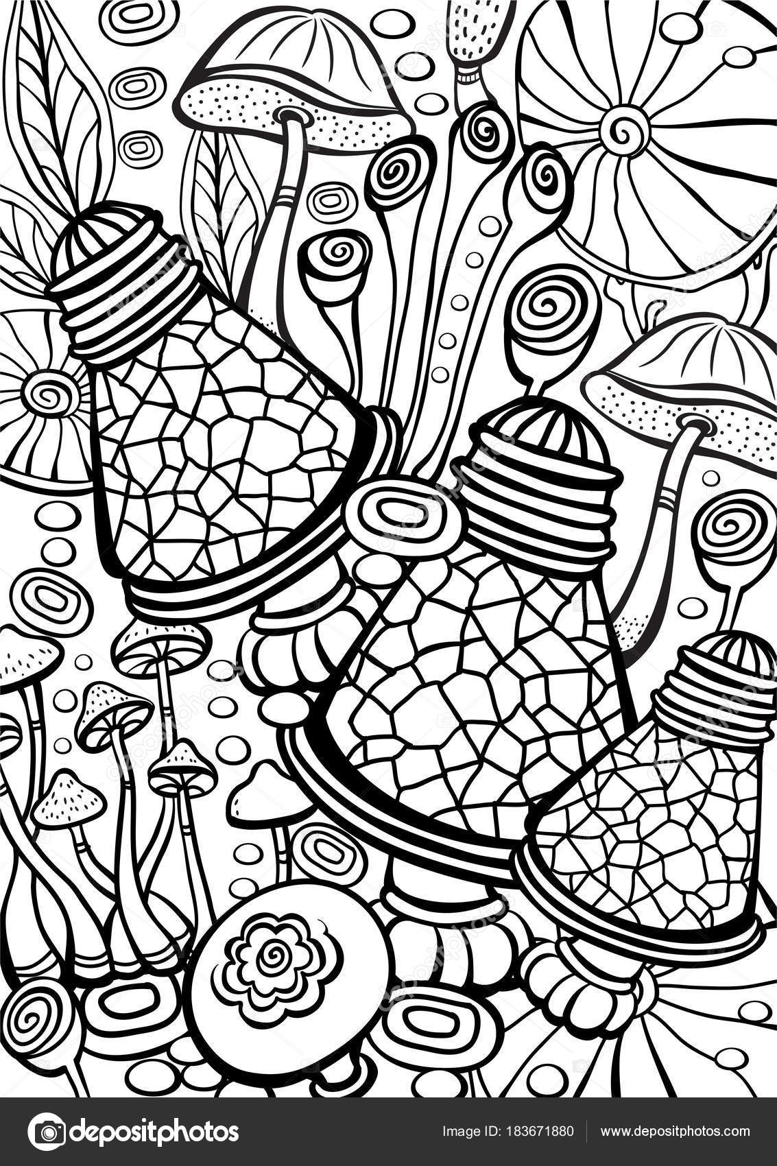 Champignons à Colorier Anti Stress Livre Page Image Vectorielle
