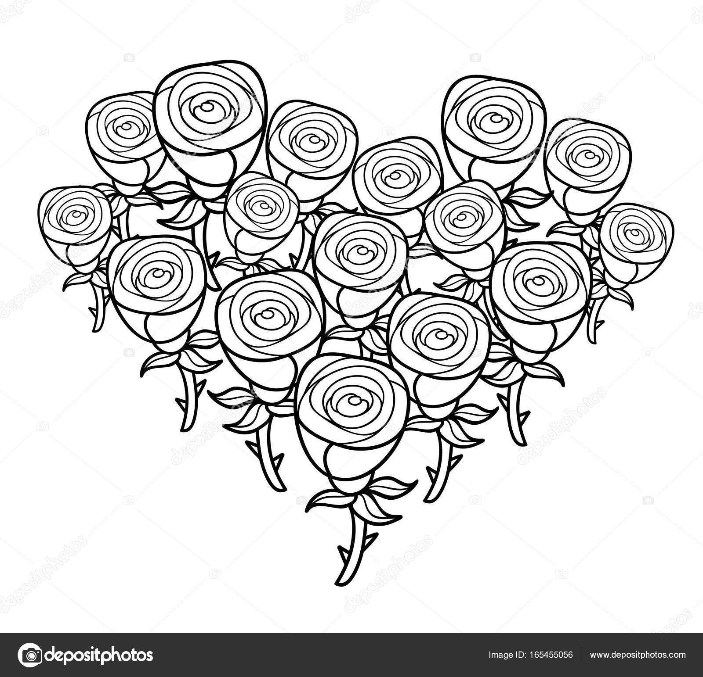 Heart Shape Bunch Of Roses Stock Vector C Ekapanova 165455056
