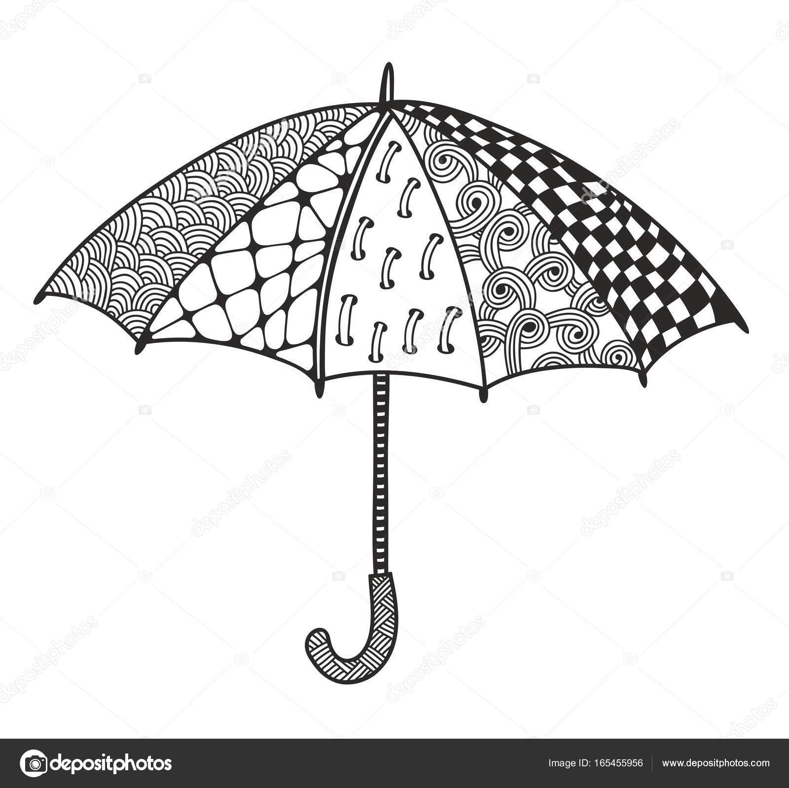 şemsiye Boyama Doodle Stok Vektör Ekapanova 165455956