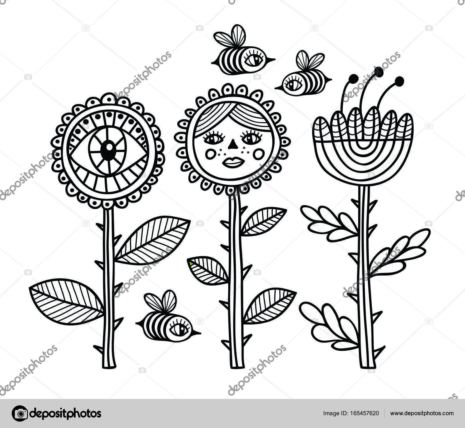 Vector Flores En Blanco Y Negro Las Abejas Y Las Flores De Blanco