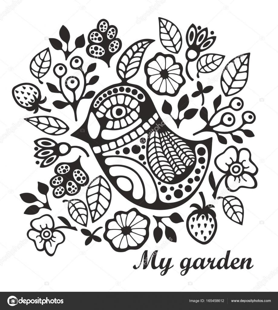 Kuş Ve çiçek Boyama Sayfası Stok Vektör Ekapanova 165458612