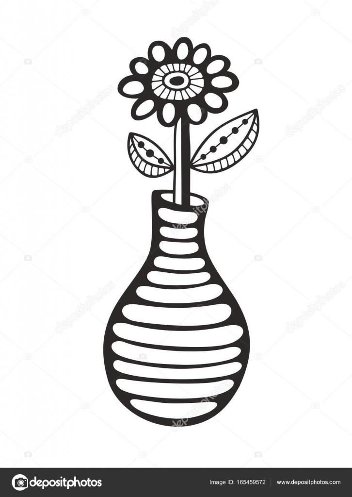 Negro y flores y florero — Archivo Imágenes Vectoriales © ekapanova ...