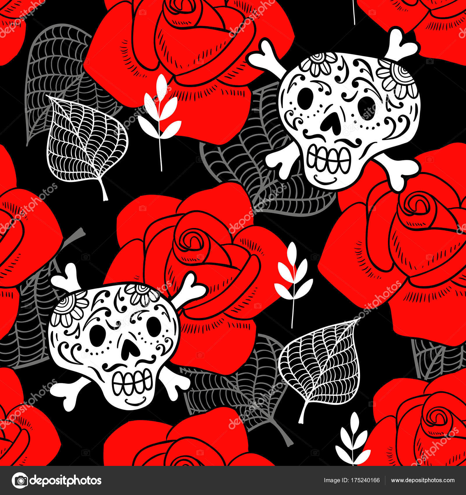 Blue Sugar Skull Wallpaper Pattern With Sugar Skulls And