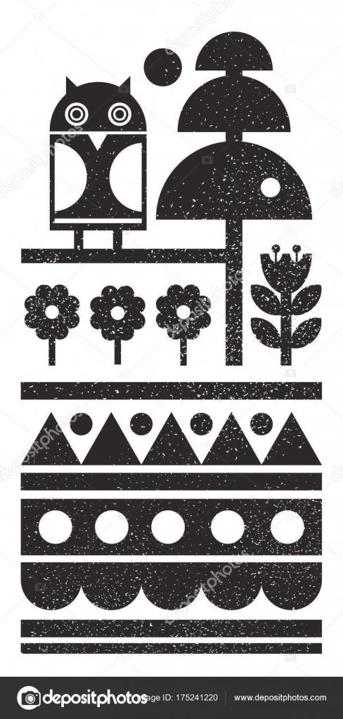 1a9e489e393243 Czarno-białe skandynawskich wydruku z nocnym Markiem na drzewie. Mapa wzór  w stylu streszczenie — Wektor od ekapanova