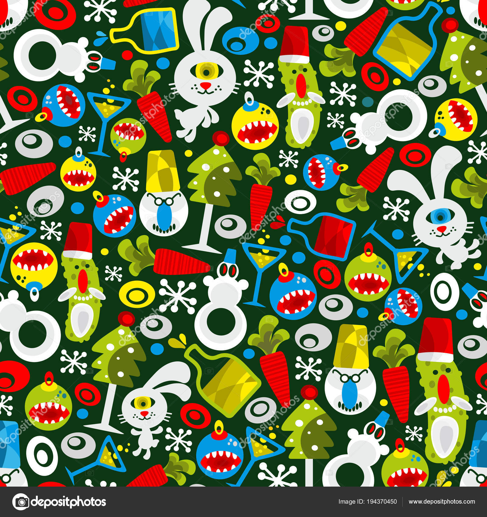 seamless pattern christmas monsters new year party wallpaper endless vector stock vector