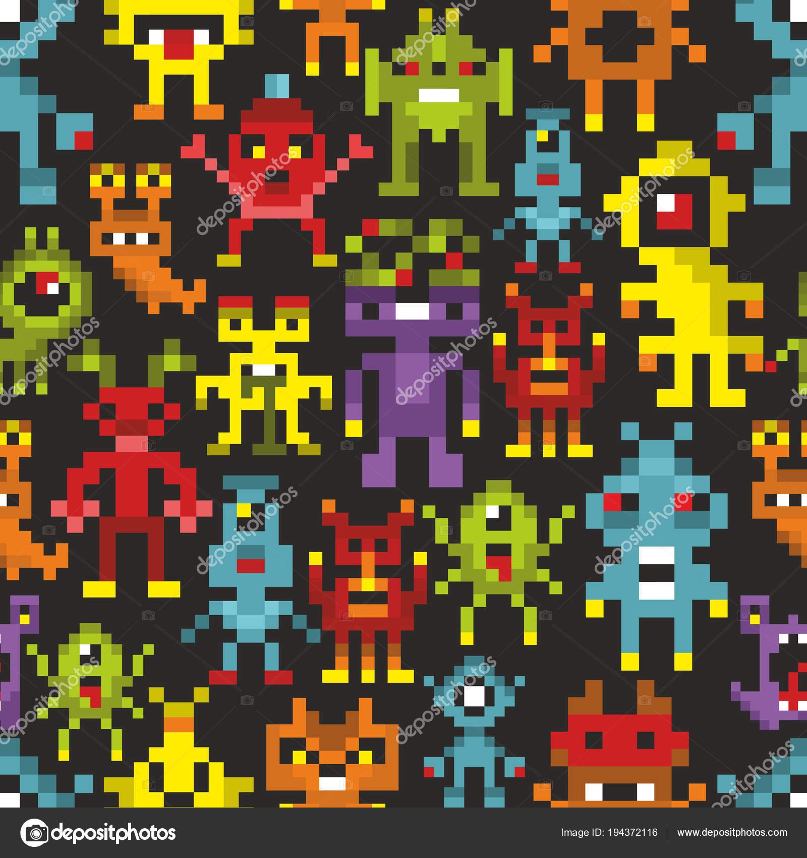 Couverture Imprimee Avec Des Monstres Pixel Carte Vecteur Colore