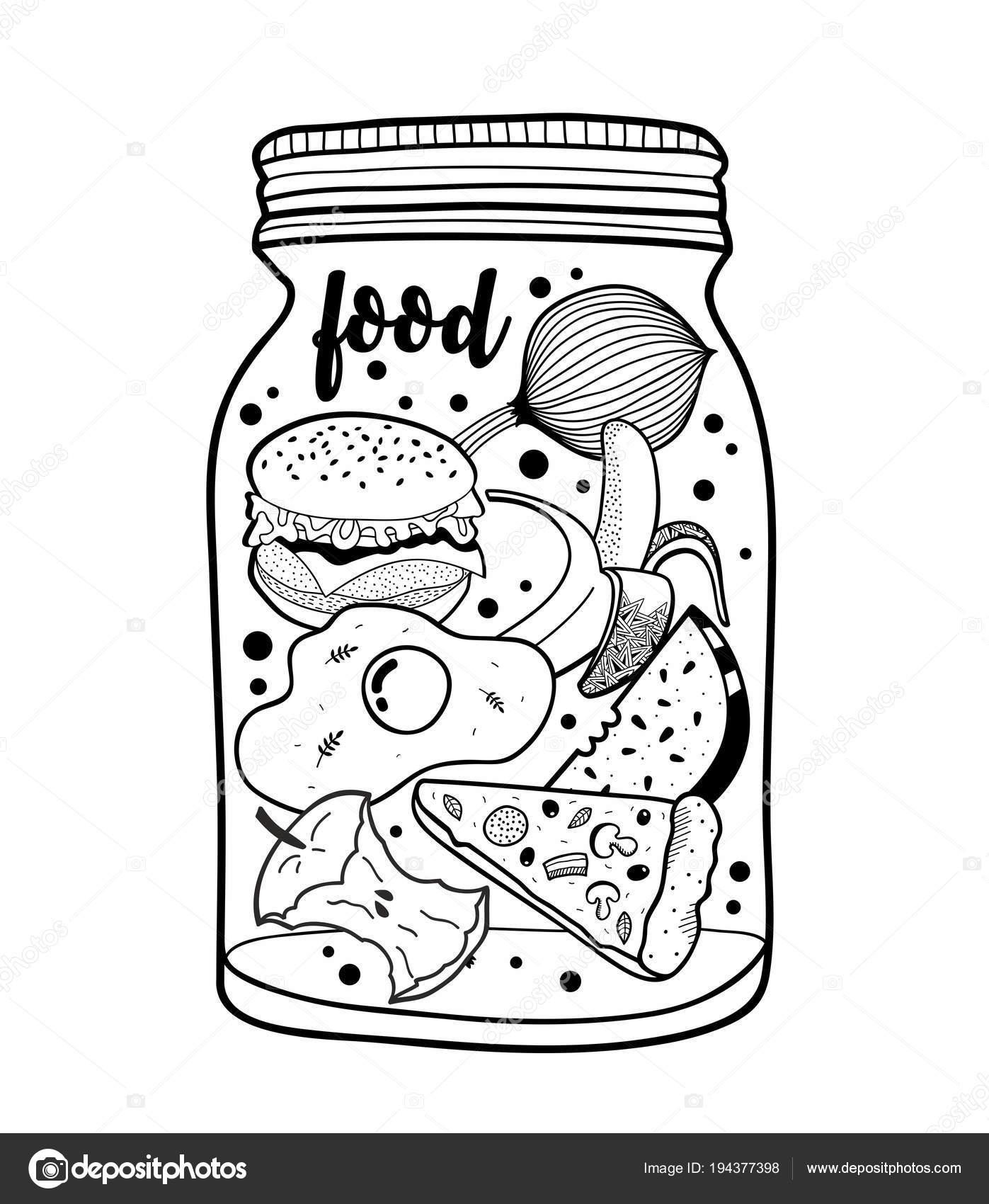 Schwarz Weiß Glas Mit Fast Food Und Früchte Vektor ...