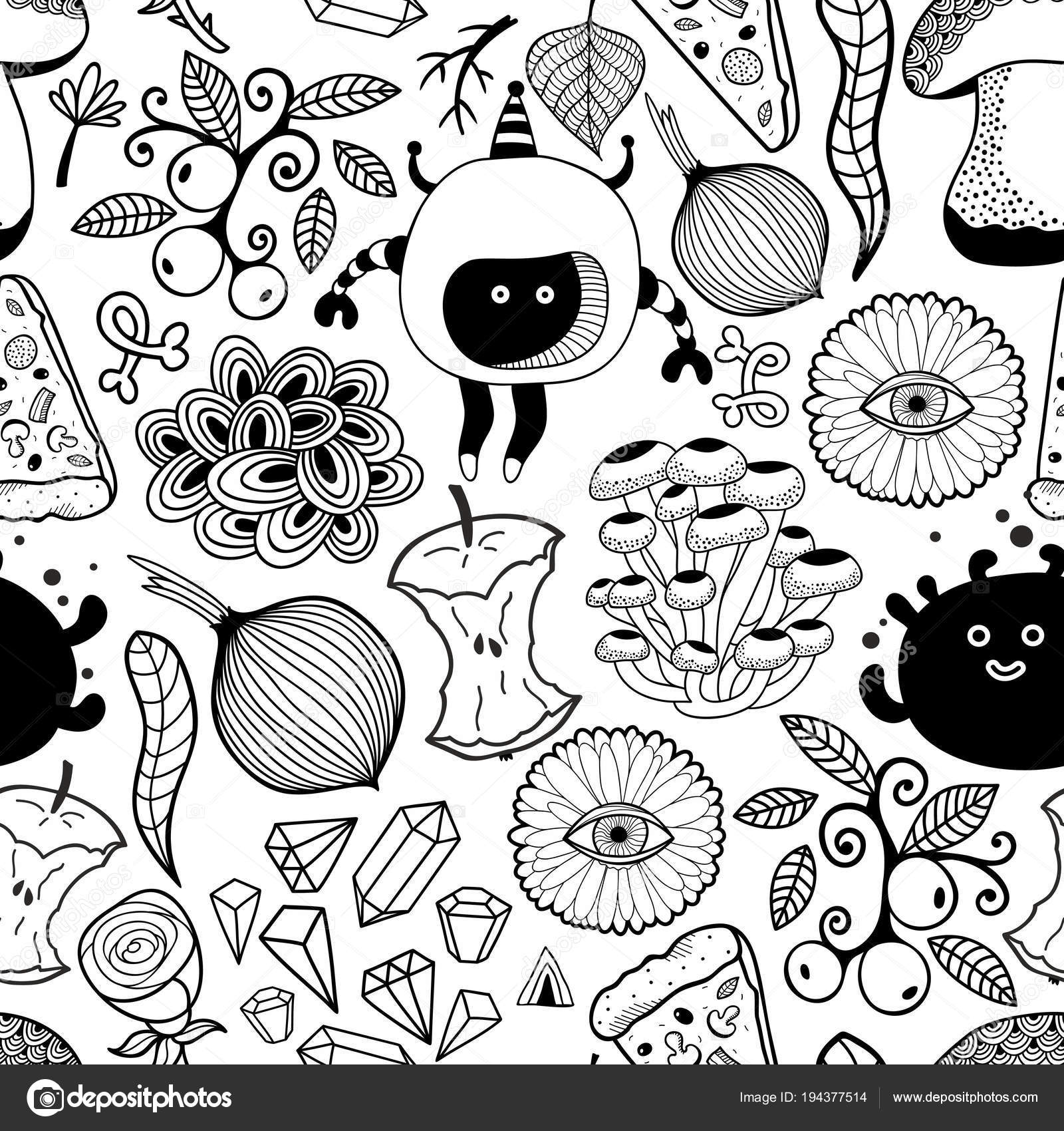 black white wallpaper coloring vector endless pattern monsters food