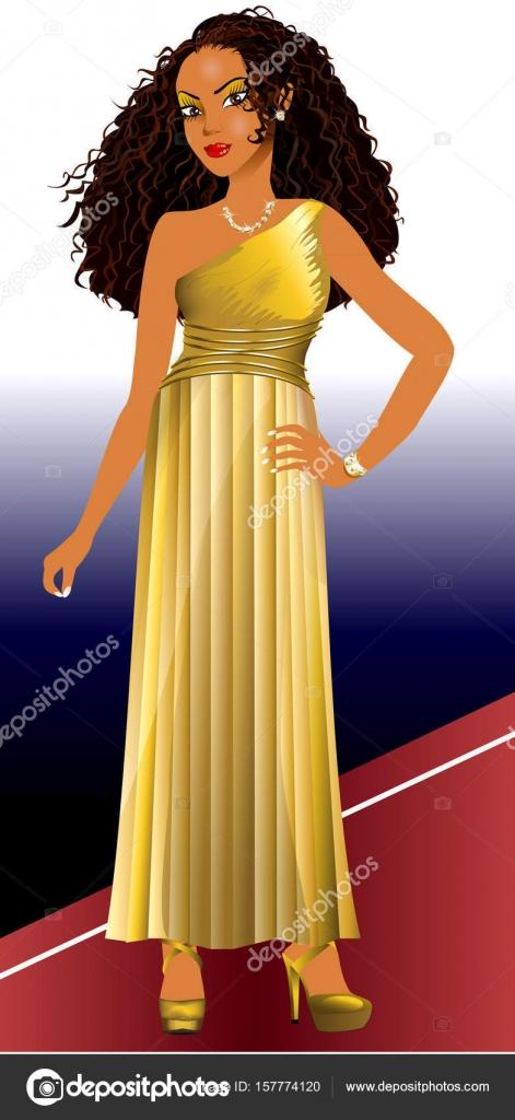Gemischte Frau Gold Kleid — Stockvektor © BasheeraDesigns #157774120