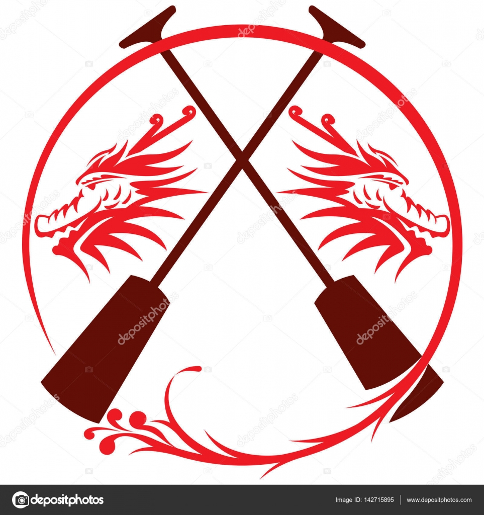 Dragon Icon Paddles Oats Boat Illustration Vector By Patrickma