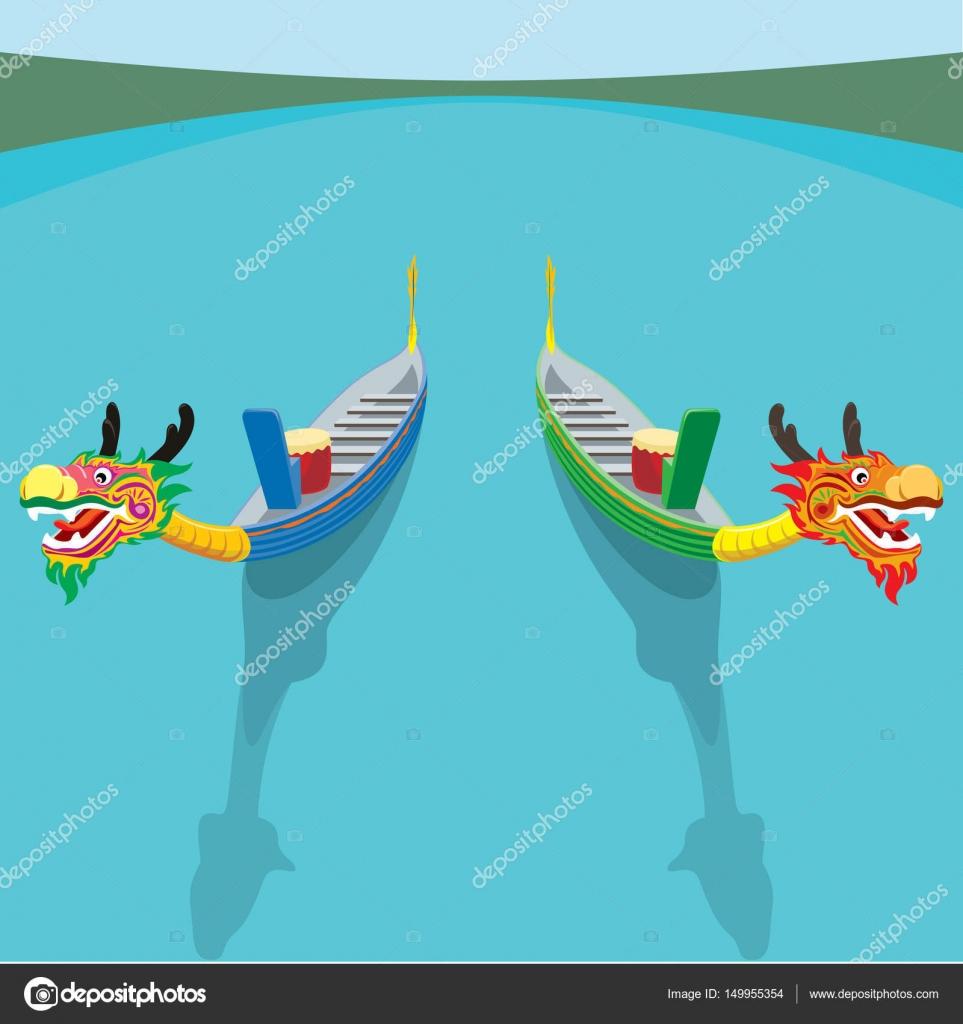 ドラゴン ボートのペア ベクトル トップ画角のイラスト ストック