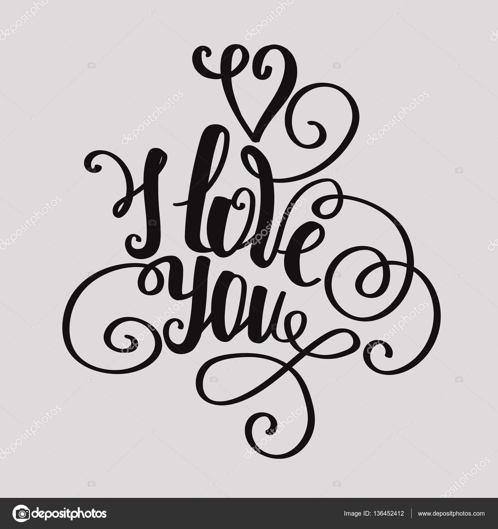 Belettering Kalligrafische Lettertype I Love You Hand Tekenen