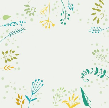 pattern with spring field plants