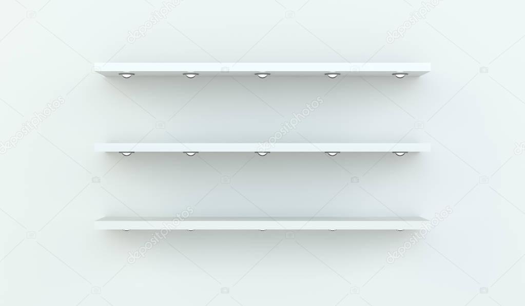 Witte Planken Aan De Muur.Witte Planken Op Witte Muur 3d Rendering Stockfoto C Sdecoret