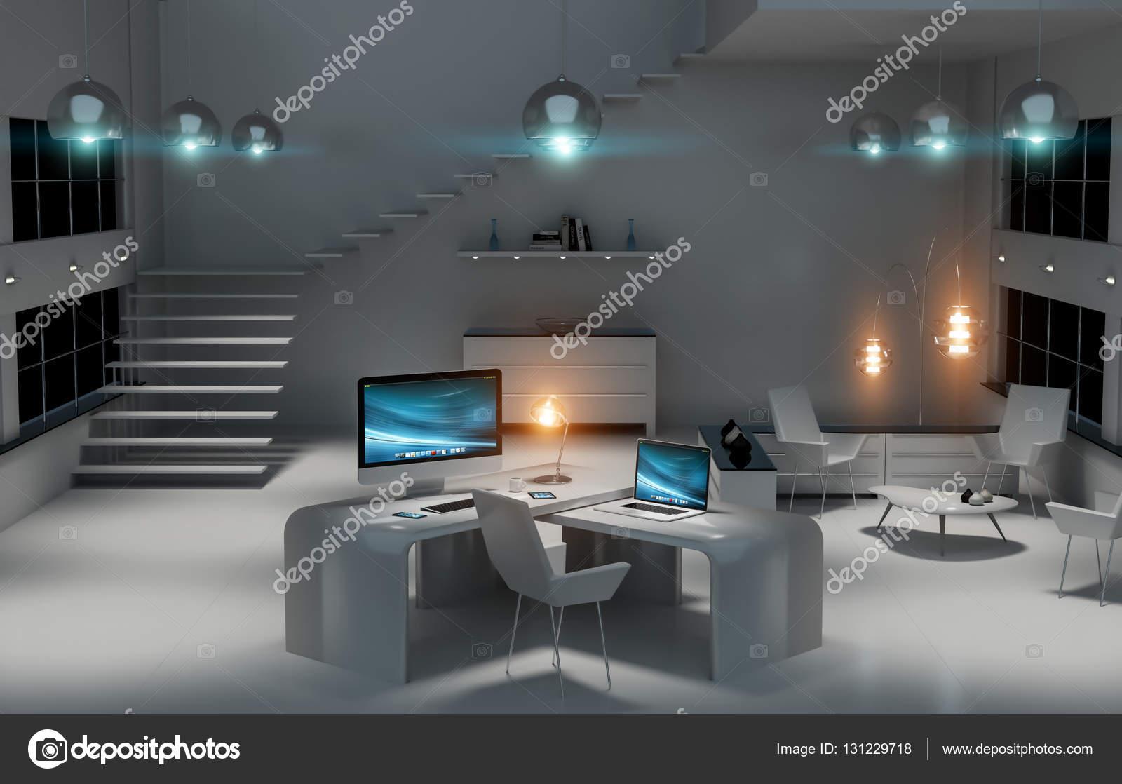 Intérieur de bureau moderne noir bureau avec ordinateur et ses