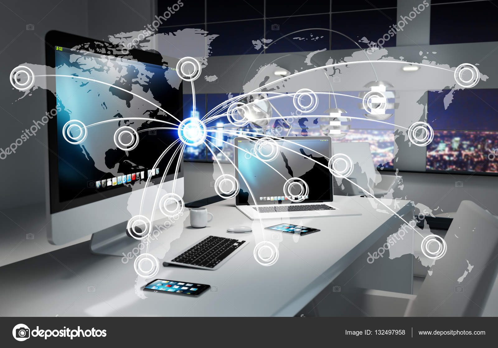 Digital world map floating in office 3d rendering stock photo digital world map floating in office 3d rendering stock photo gumiabroncs Choice Image