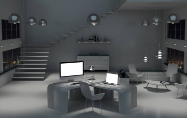 Modern dark desk office interior with computer and devices 3D re