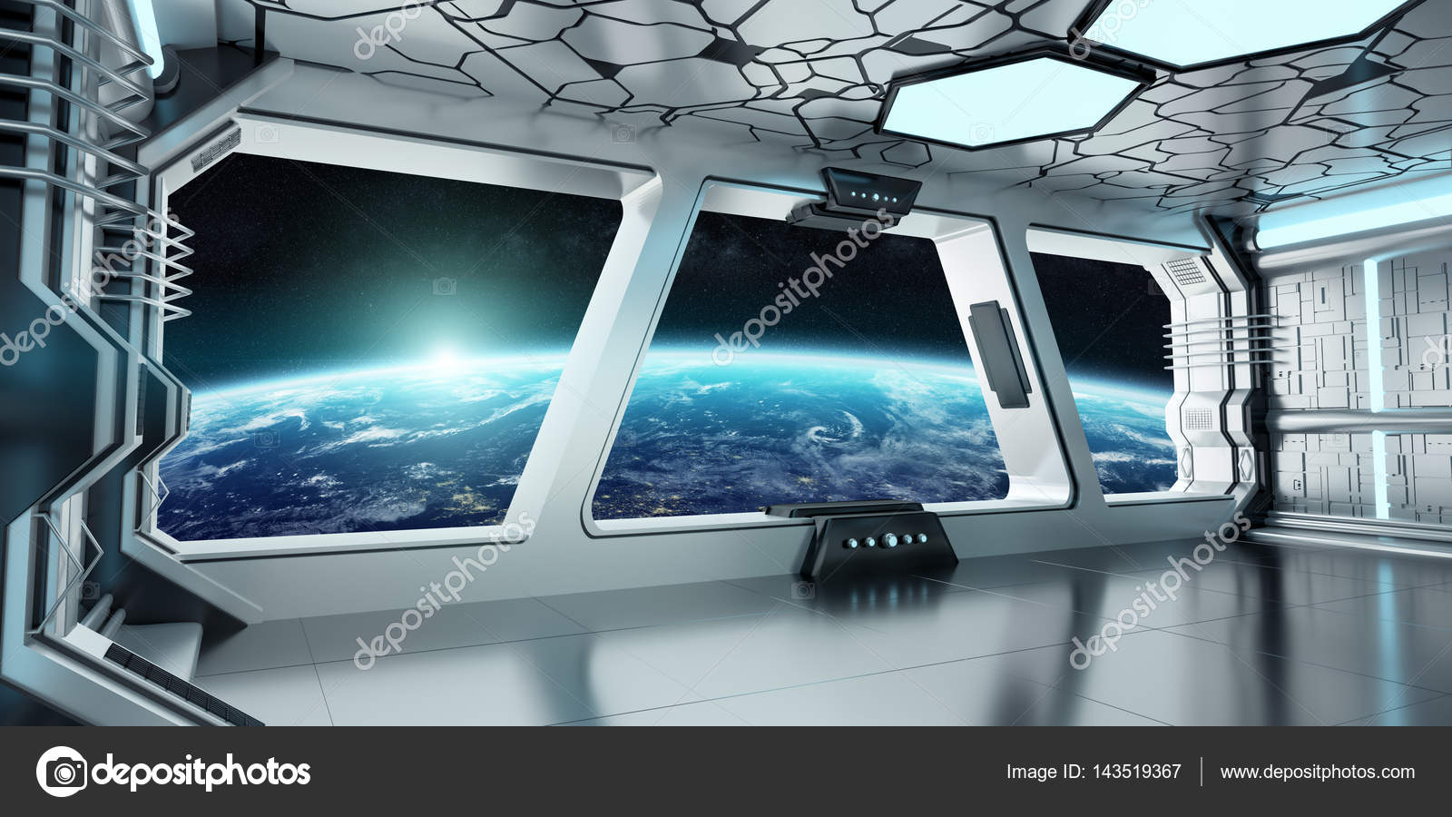 Spaceship interior with view on the planet earth 3d for Interior nave espacial
