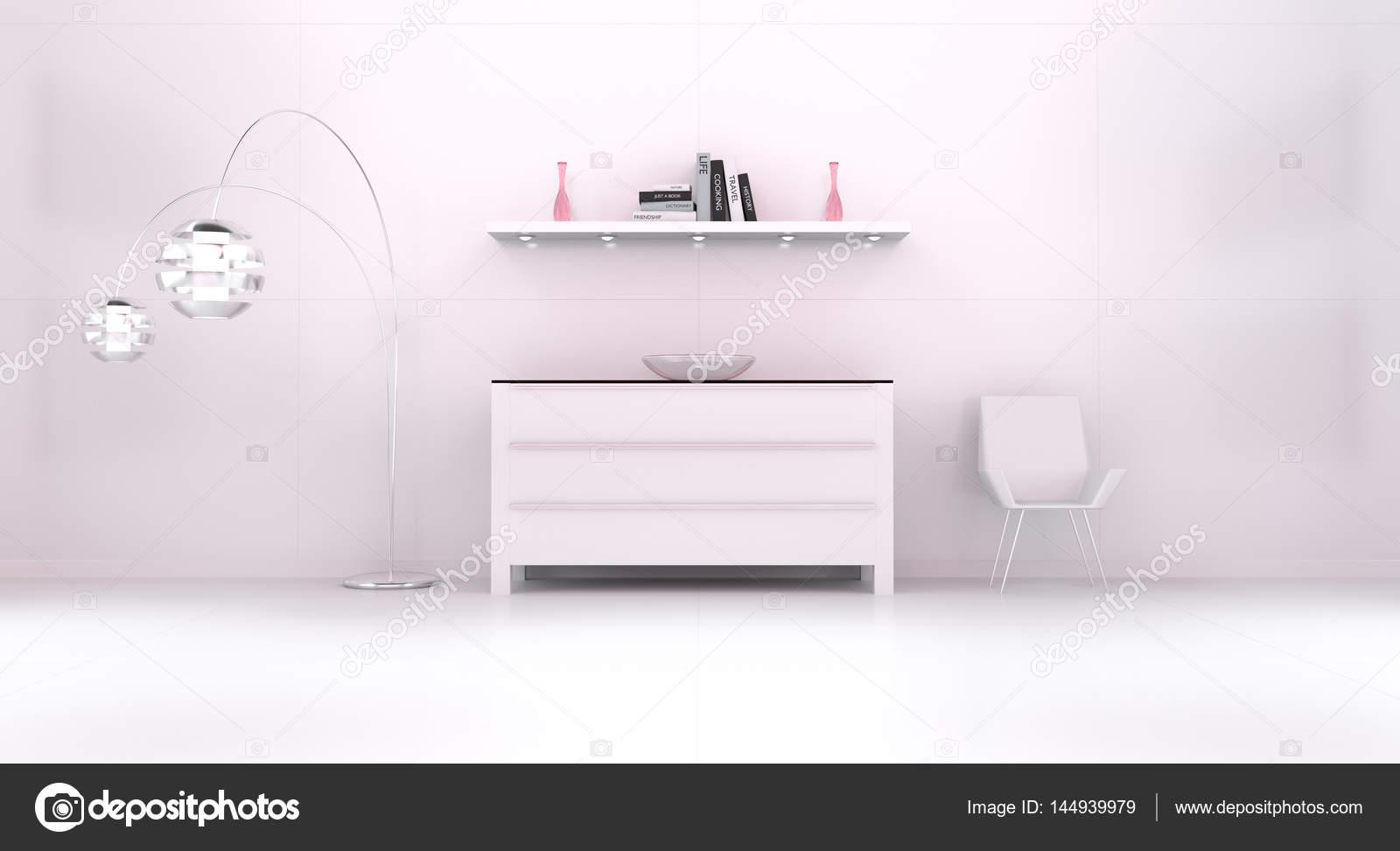 Modern wit interieur met commode roze en ijskast 3d r u2014 stockfoto