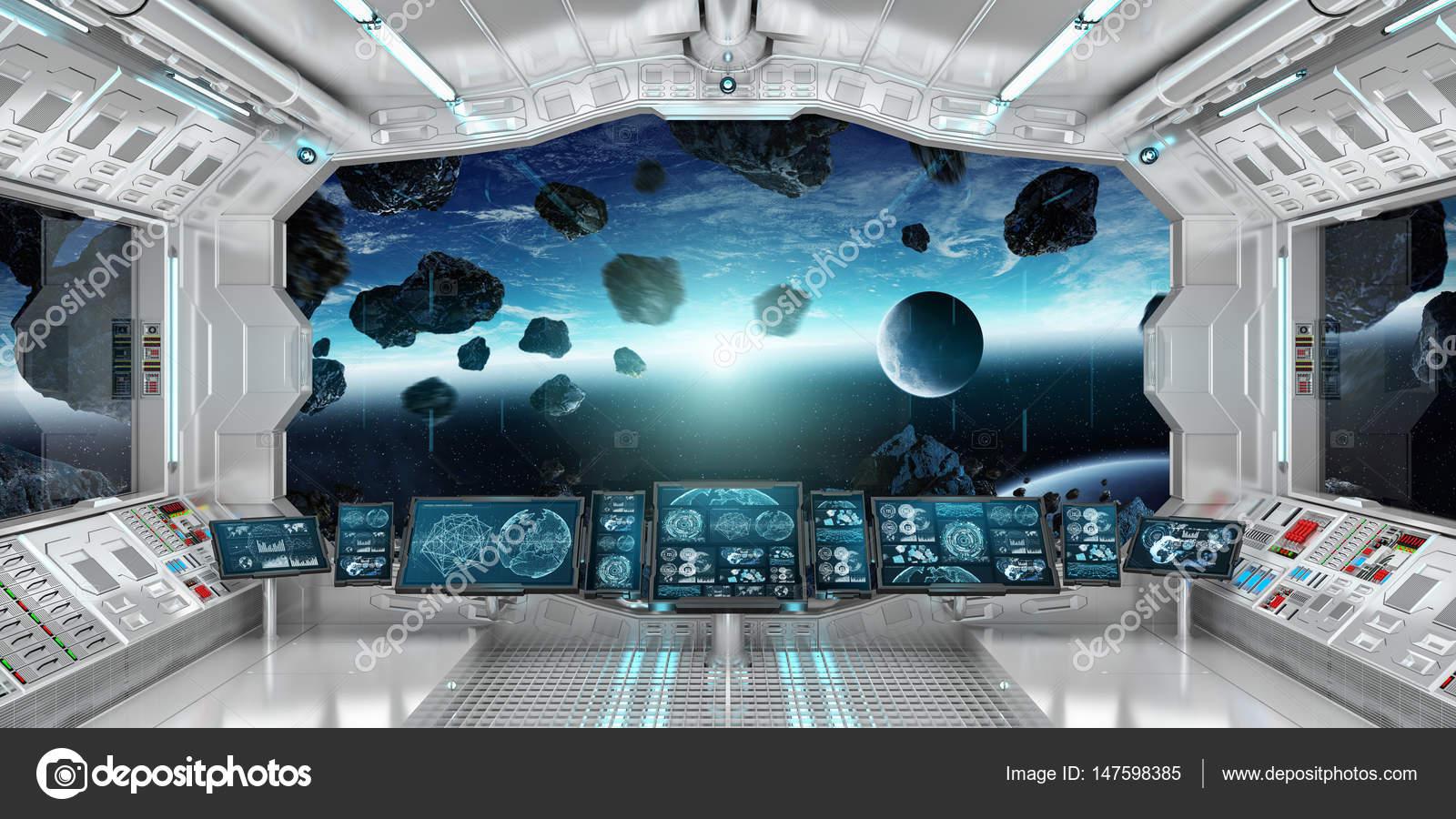 interior de la nave espacial con vista en el planeta
