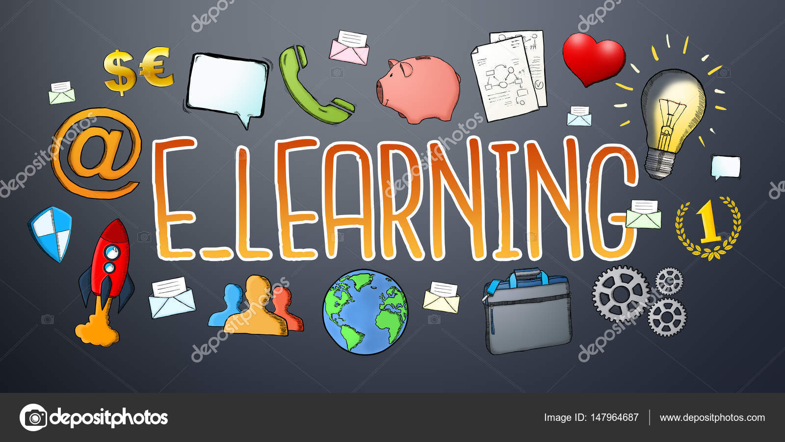Hand Drawn E Learning Text With Icons Stock Photo C Sdecoret 147964687