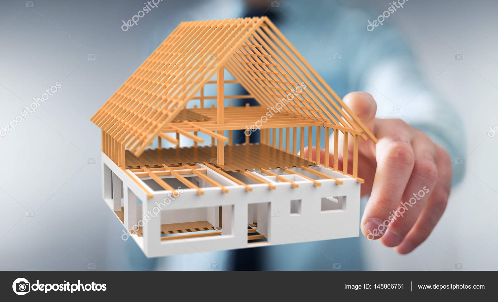 Businessman On Blurred Background Touching 3D Rendering Unfinished Plan  House With His Finger U2014 Photo By Sdecoret. Find Similar Images
