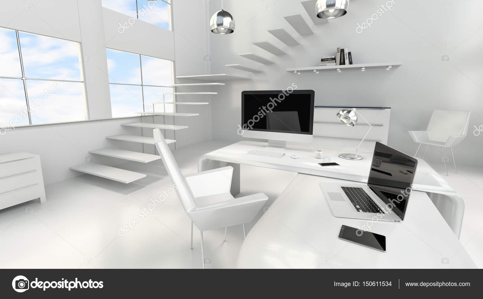 Intérieur moderne blanc bureau avec ordinateur et ses