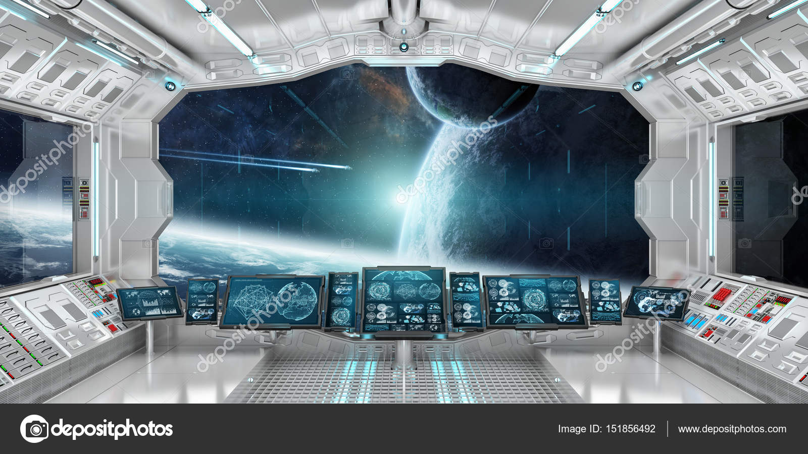 Spaceship Interior With View On Distant Planets System 3D Render U2014 Stock  Photo