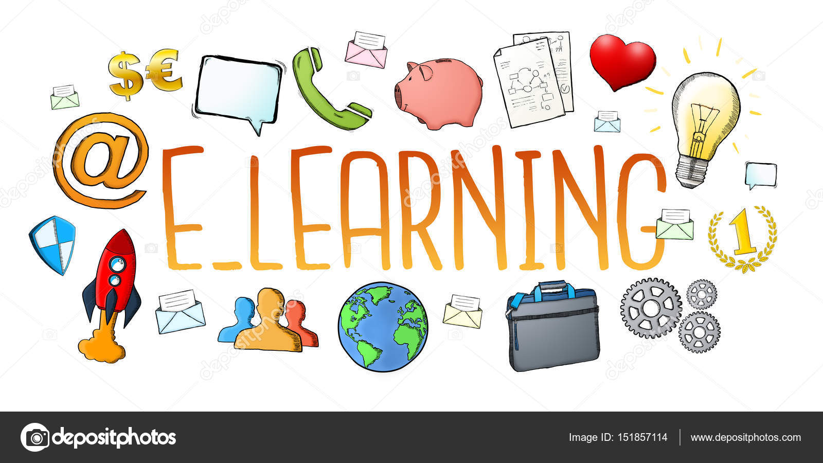 Hand Drawn E Learning Text With Icons Stock Photo C Sdecoret 151857114