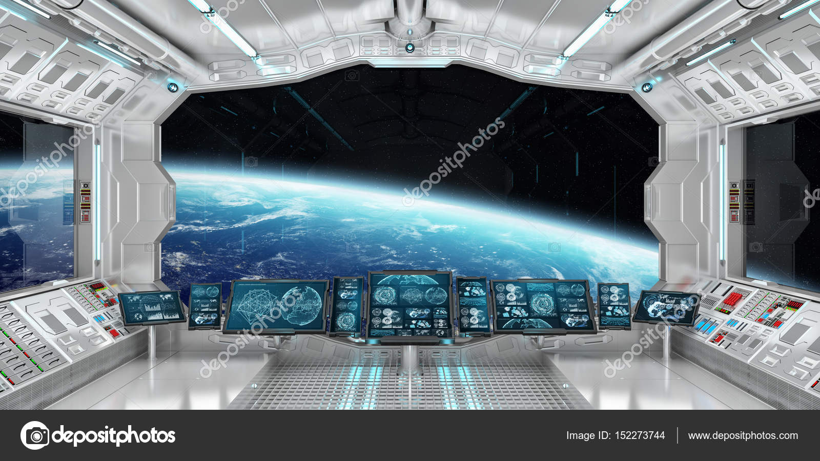 Delightful Spaceship Interior With View On The Planet Earth 3D Rendering El U2014 Stock  Photo