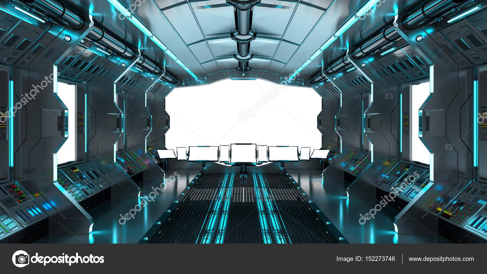 Interior De Ventana De Nave Espacial: Interior De La Nave Espacial Con Vista En Blanco Windows