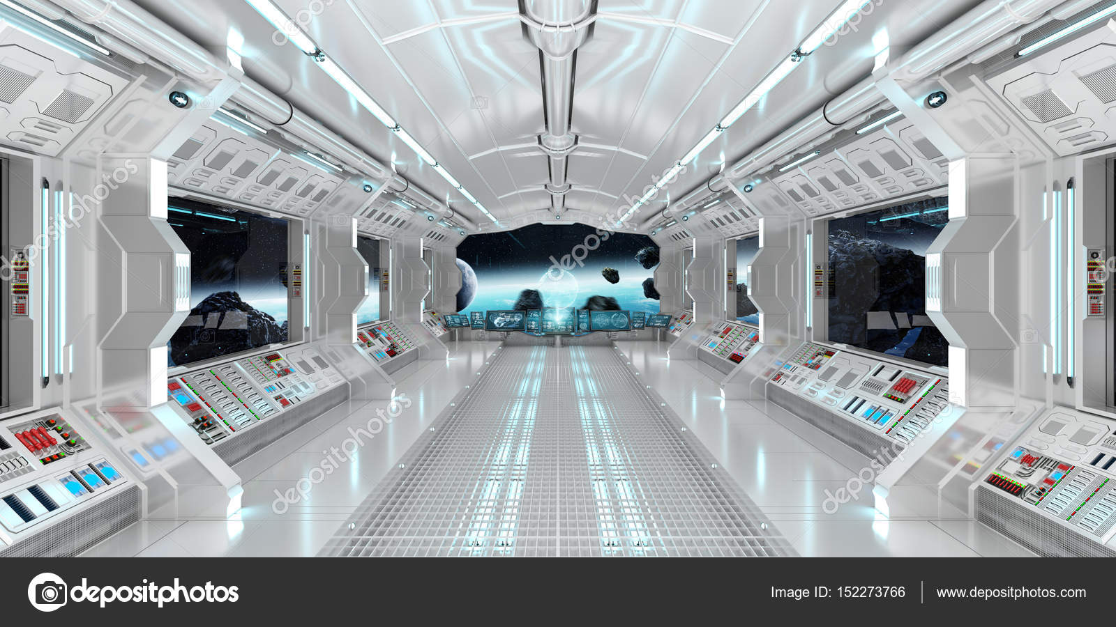 Spaceship Interior With View On The Planet Earth 3D Rendering El U2014 Stock  Photo